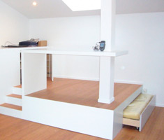 Cr ation d une estrade avec lit integr david ruel sarl Lit estrade chambre studio